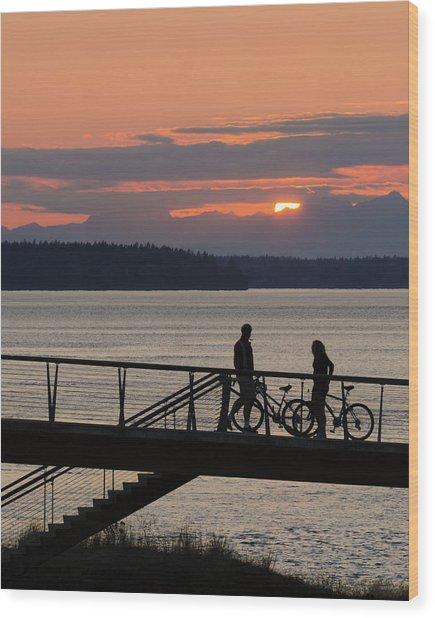 Bikers At Sunset Wood Print