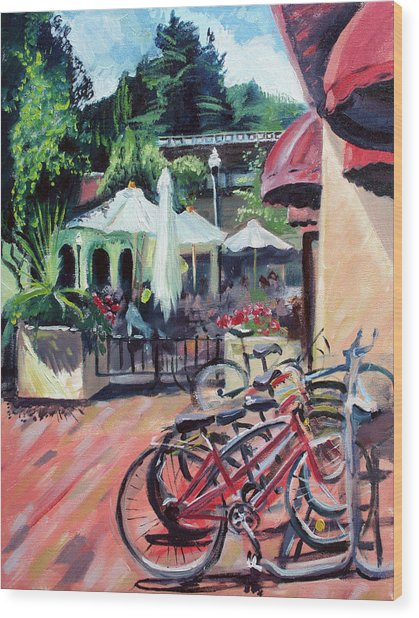 Bikes At The Depot Cafe Wood Print by Colleen Proppe