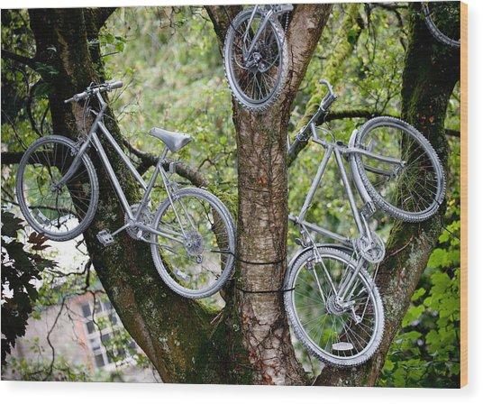 Bikes In A Tree Wood Print