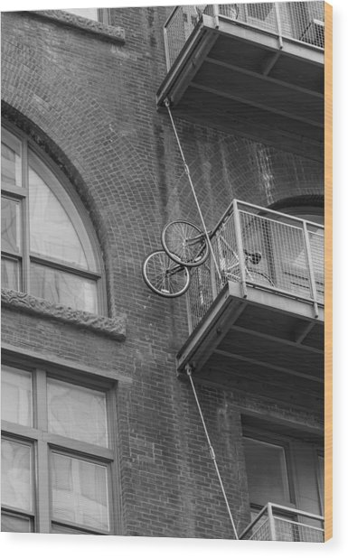 Bikes On Balcony Wood Print by Denise McKay