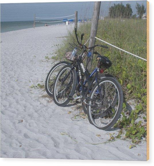 Bikes On The Beach Wood Print