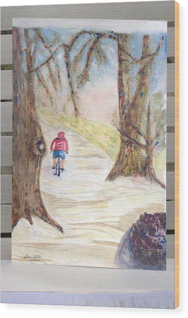 Biking In The Woods Wood Print by Jonathan Galente