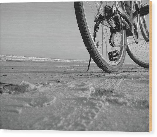 Biking To The Beach Wood Print