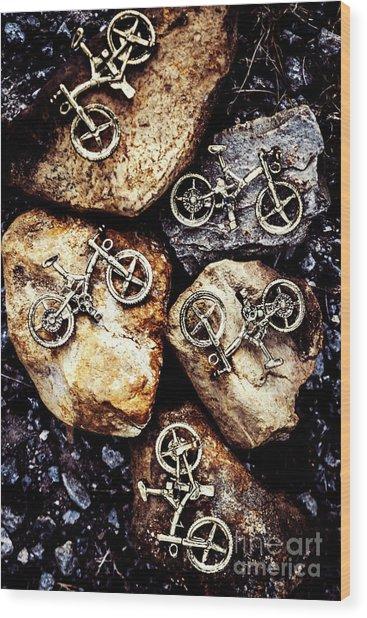 Biking Trail Scene Wood Print