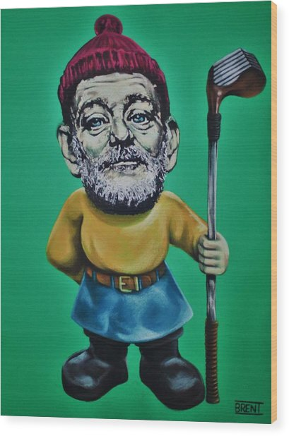 Bill Murray Golf Gnome Wood Print