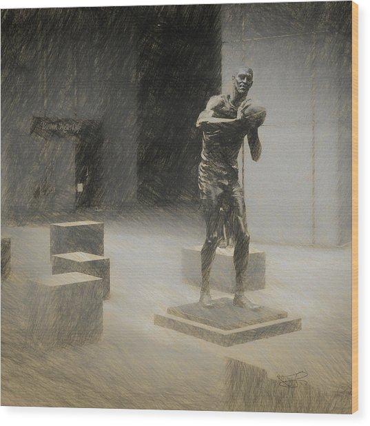 Bill Russell Statue Wood Print