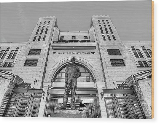 Bill Snyder Family Stadium In Black And White Wood Print by JC Findley