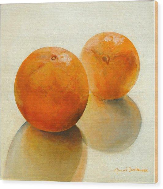 Billes Oranges Wood Print by Muriel Dolemieux