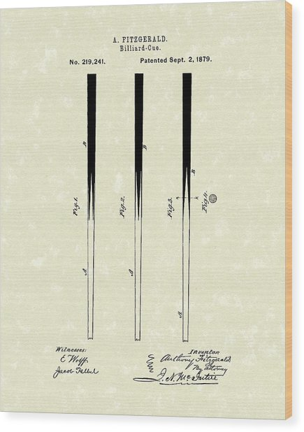 Billiard Cue 1879 Patent Art Wood Print