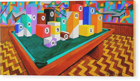 Billiard Table Wood Print