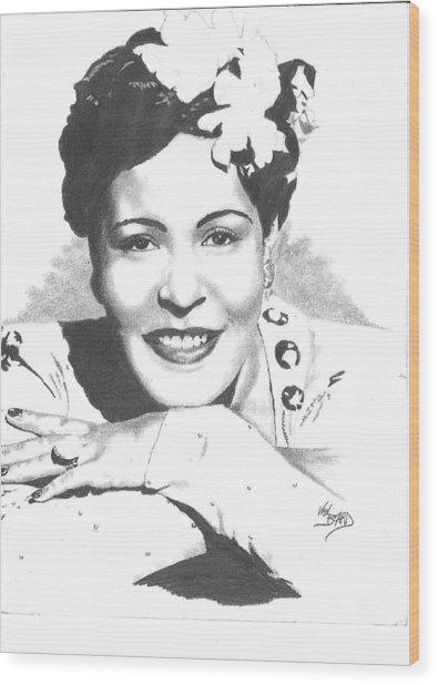 Billie Holiday Wood Print by Van Beard