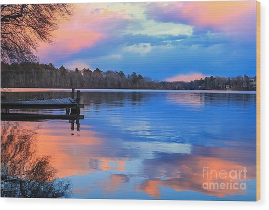 Billington Sea Sunset Wood Print