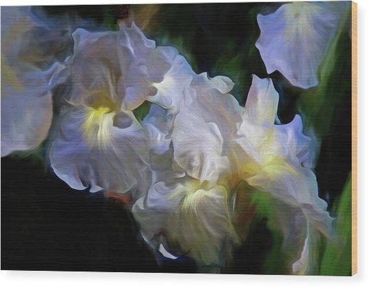 Billowing Irises Wood Print