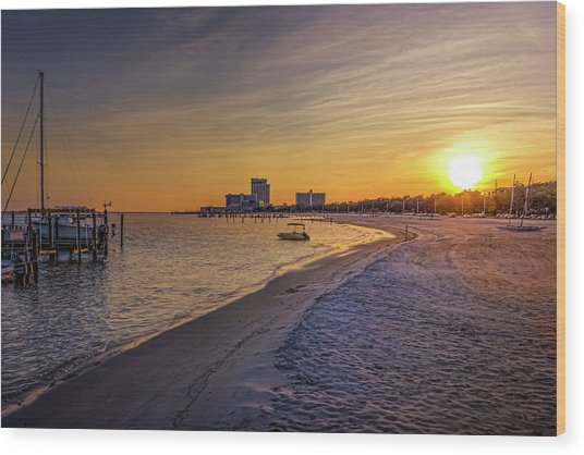 Biloxi Beach Sunset Wood Print by Barry Jones