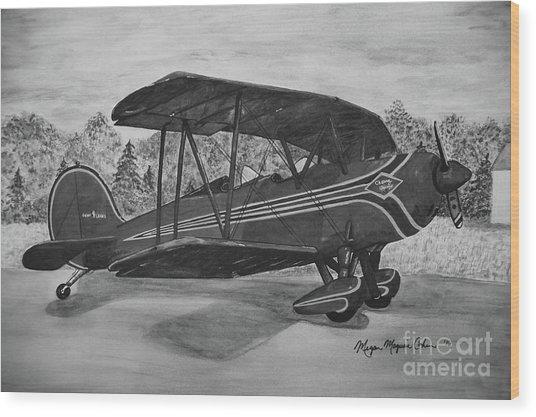 Biplane In Black And White Wood Print