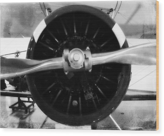 Biplane Propeller Wood Print