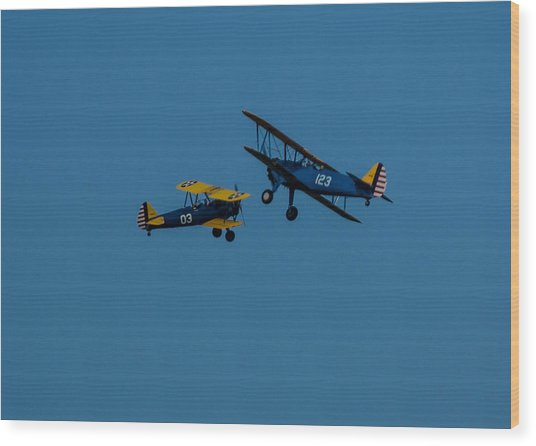 Biplanes Near Collision 5x7 Wood Print