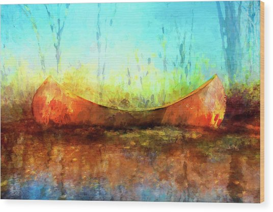 Birch Bark Canoe Wood Print