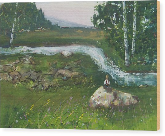 Birch Creek Wood Print