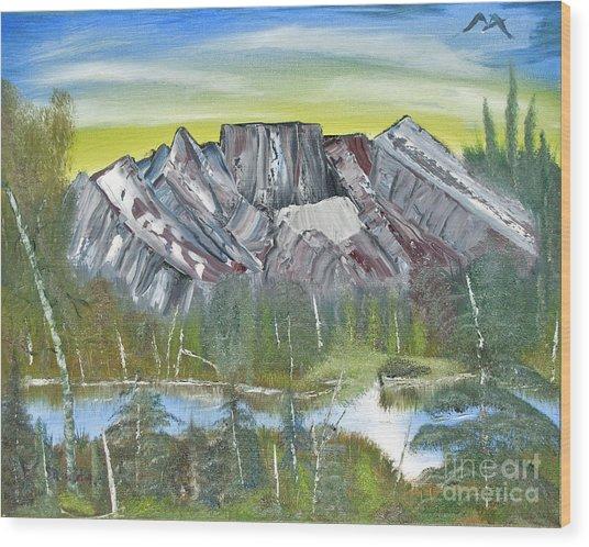 Birch Mountains Wood Print