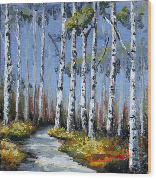 Birch Tree Path Wood Print