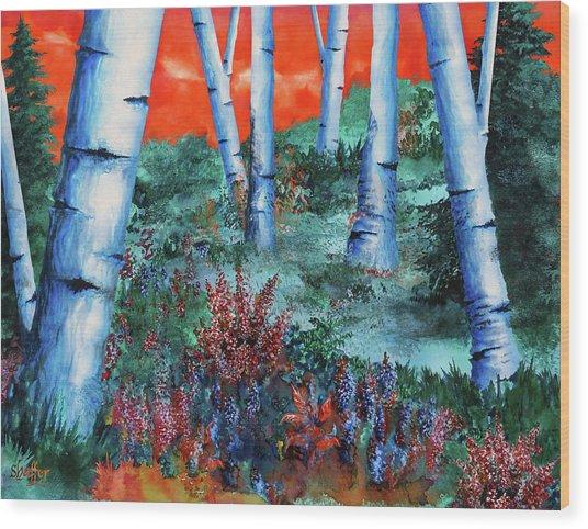 Birch Trees At Sunset Wood Print