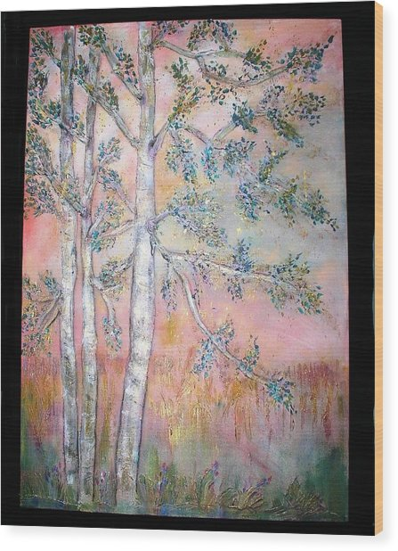 Birch Woods Sold Wood Print by Laurie Alpert