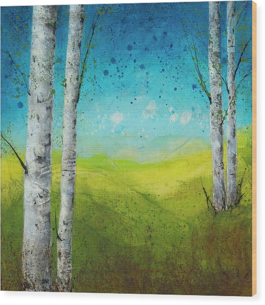 Birches In Green Wood Print