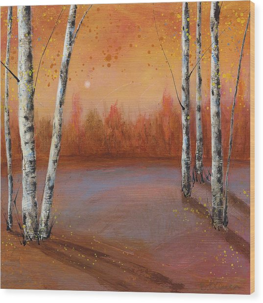 Birches In The Fall Wood Print
