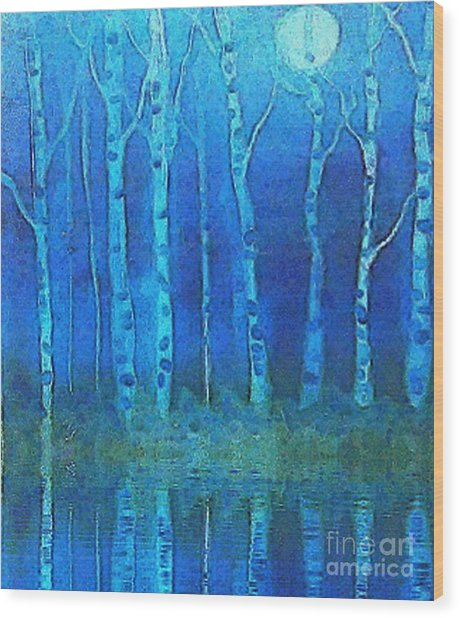 Birches In Moonlight Wood Print