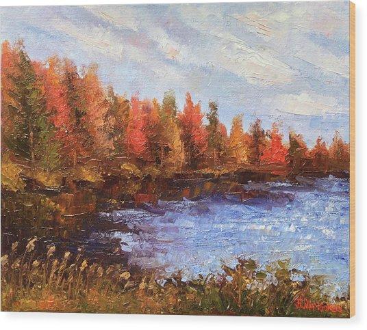 Birchwood Lake Wood Print