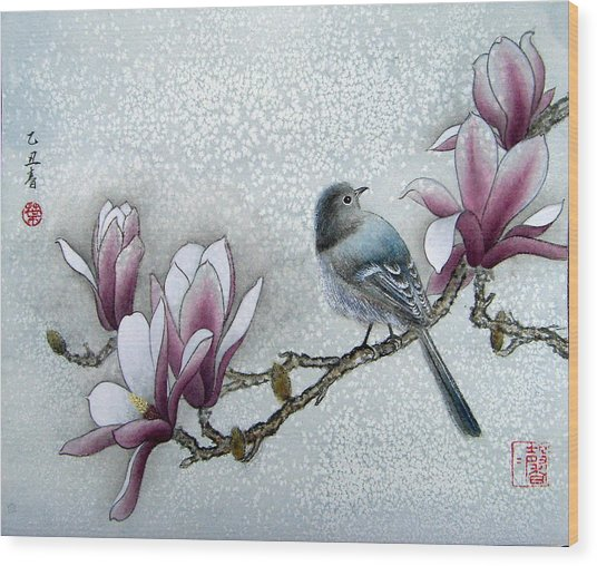 Bird And  Magnolia  Wood Print by Leaf Moore