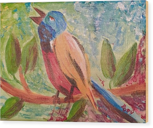 Bird At Rest Wood Print