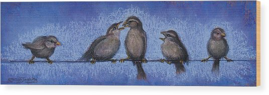 Bird Babies On A Wire Wood Print