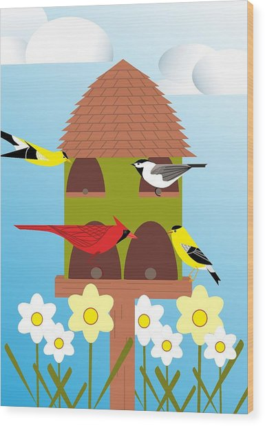 Bird Feeder Wood Print