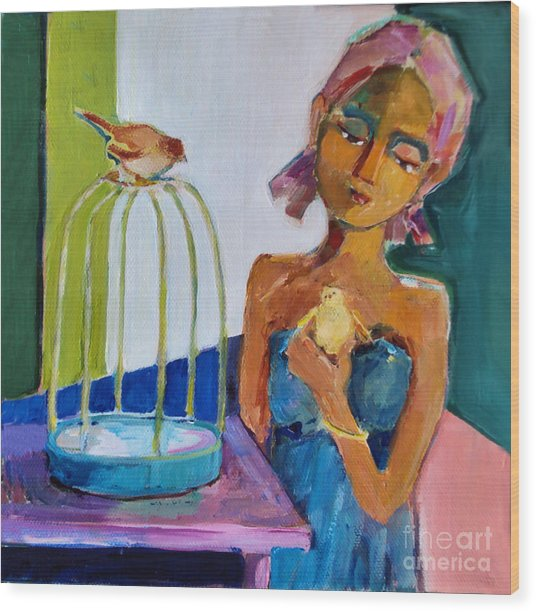 Bird Girl Wood Print