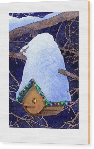 Bird House Christmas Wood Print