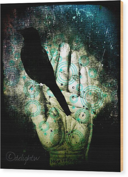 Wood Print featuring the digital art Bird In Hand by Delight Worthyn