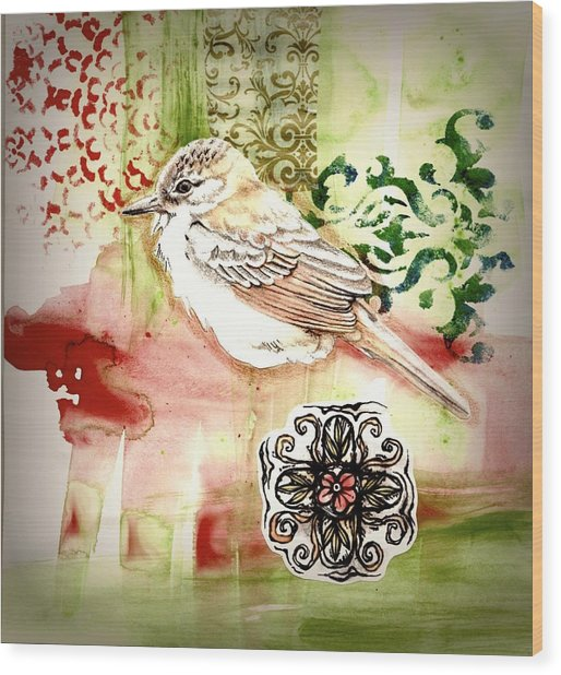 Wood Print featuring the mixed media Bird Love by Rose Legge