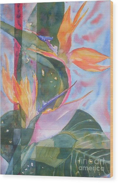 Bird Of Paradise Abstract Wood Print by Warren Thompson