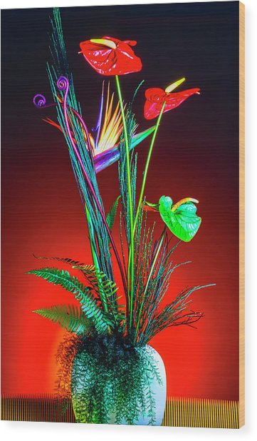 Bird Of Paradise And Anthuriums In Vase Wood Print