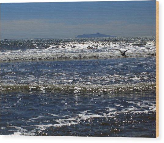 Bird On A Wave Wood Print by Robin Hernandez