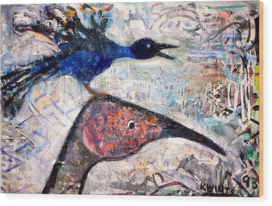 Bird On Bird Wood Print by Dave Kwinter