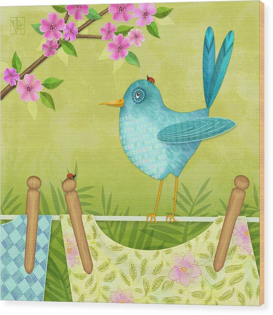 Bird On Clothesline Wood Print