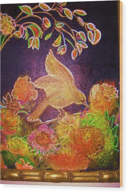 Bird On Flowers On A  Glorious Night Wood Print by Anne-Elizabeth Whiteway