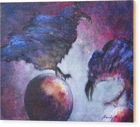 Bird Or Fiend Wood Print by Sandy Applegate