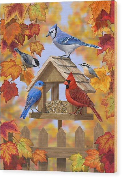 Bird Painting - Autumn Aquaintances Wood Print