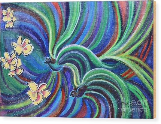 Bird Symphony With Frangipani Wood Print