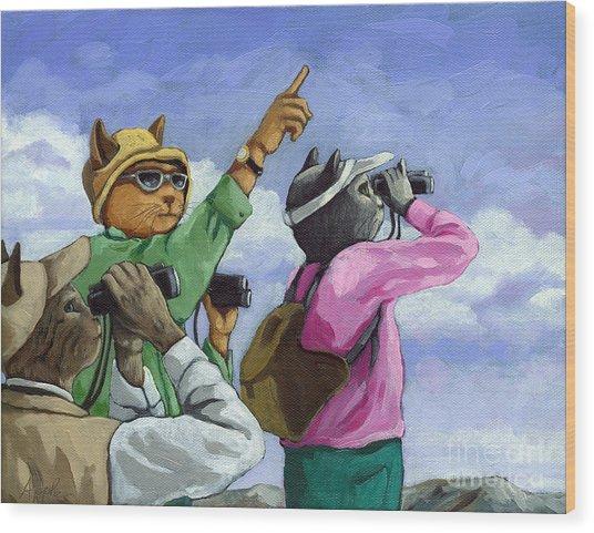 Bird Watchers - Fantasy Cat Oil Painting Wood Print