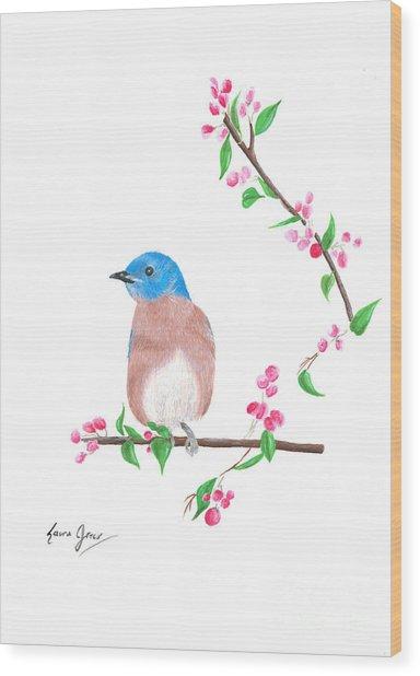 Minimal Bird And Cherry Flowers Wood Print